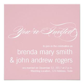 ピンクの灰色のシンプルな原稿のモダンの結婚式招待状 カード