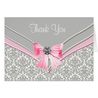 ピンクの灰色のダマスク織は感謝していしています カード