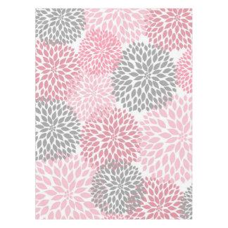 ピンクの灰色のダリアの花の芸術の装飾、花 テーブルクロス