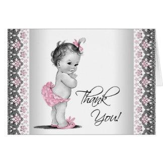 ピンクの灰色のヴィンテージのベビーシャワーは感謝していしています カード