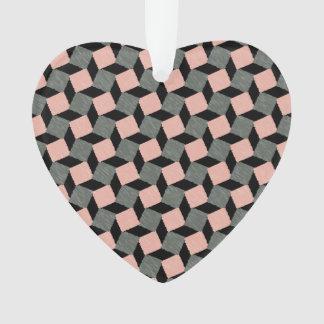 ピンクの灰色の抽象芸術の幾何学的なイカットの正方形パターン オーナメント
