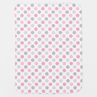 ピンクの灰色の水玉模様 ベビー ブランケット