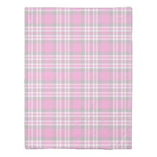 ピンクの灰色の灰色の格子縞のギンガムの点検女の子の春 掛け布団カバー