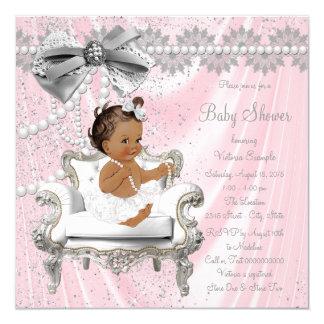 ピンクの灰色の真珠の椅子の民族の女の子のベビーシャワー 13.3 スクエアインビテーションカード