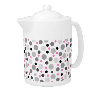 ピンクの灰色の黒い水玉模様パターン