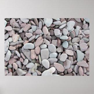 ピンクの灰色は小石の質に投石します ポスター