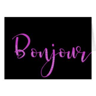 ピンクの点々のあるなBonjour カード