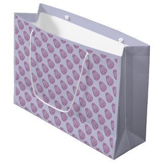 ピンクの点が付いている紫色のイースターエッグ ラージペーパーバッグ