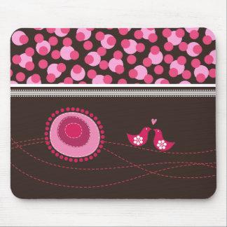 ピンクの点の花及び幸せな鳥パターンマウスパッド マウスパッド