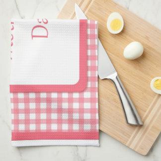 ピンクの点検の花の母の日 キッチンタオル
