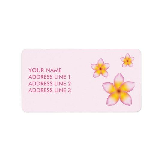 ピンクの熱帯プルメリアの花およびカスタム情報 ラベル