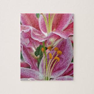 ピンクの熱帯ユリの花 ジグソーパズル