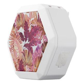 ピンクの熱帯葉パターンスピーカー ホワイトBluetoothスピーカー