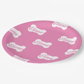 ピンクの犬用の骨のカスタムの文字 ペーパープレート