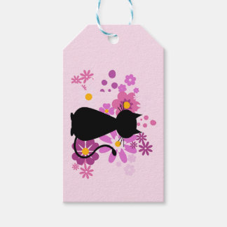 ピンクの猫によってはギフトのラベルが開花します ギフトタグ