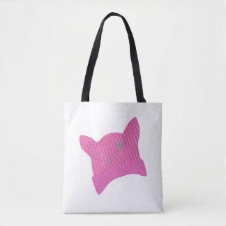 ピンクの猫のニットの帽子のトートバック トートバッグ