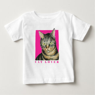 ピンクの猫好きのTシャツ ベビーTシャツ