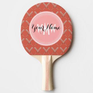 ピンクの珊瑚のオレンジ野球用バットパターン 卓球ラケット