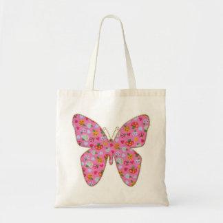 ピンクの生地の蝶 トートバッグ