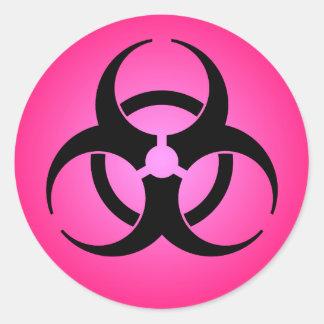 ピンクの生物学的災害[有害物質]の記号 ラウンドシール