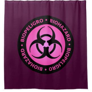 ピンクの生物学的災害[有害物質]の警告標識 シャワーカーテン