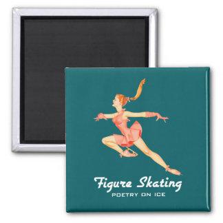 ピンクの用品類のフィギュアスケート選手のレトロのイメージ マグネット