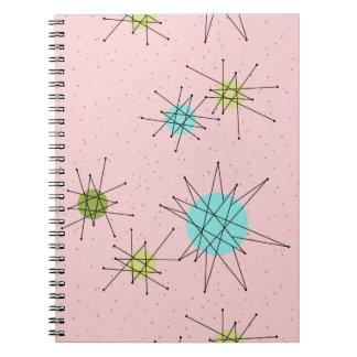 ピンクの画像的な原子スターバストの螺線形ノート ノートブック