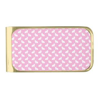 ピンクの白いイースターのウサギ 金色 マネークリップ