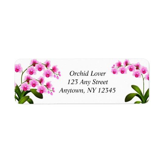 ピンクの白いコチョウランの蘭の花のラベル 返信用宛名ラベル
