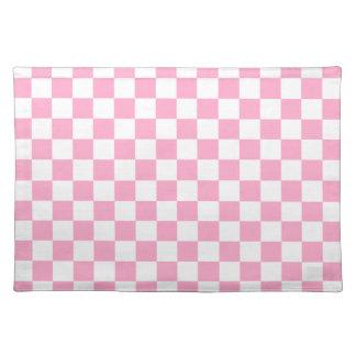 ピンクの白いチェック模様-ランチョンマット ランチョンマット