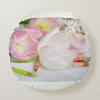"""ピンクの白いチューリップのjjhelene 16""""円形の装飾用クッション ラウンドクッション"""