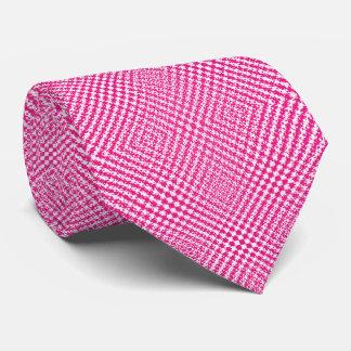 ピンクの白いヘリンボンパターン(の模様が)ある カスタムネクタイ