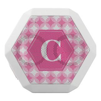 ピンクの白いモノグラムパターン ホワイトBluetoothスピーカー