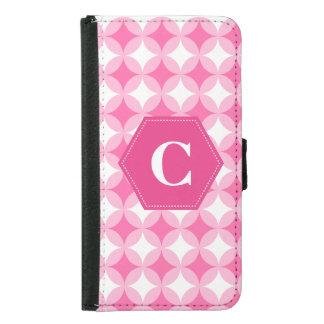 ピンクの白いモノグラムパターン GALAXY S5 ウォレットケース