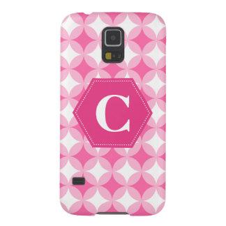 ピンクの白いモノグラムパターン GALAXY S5 ケース