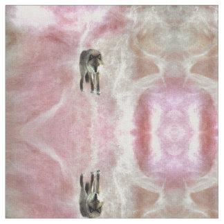 ピンクの白いモモのオオカミの生地、非有毒なインク ファブリック