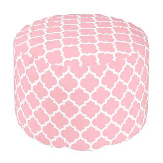 ピンクの白いモロッコのクローバーパターン#5 プーフ