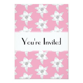 ピンクの白いユリのパターン カード