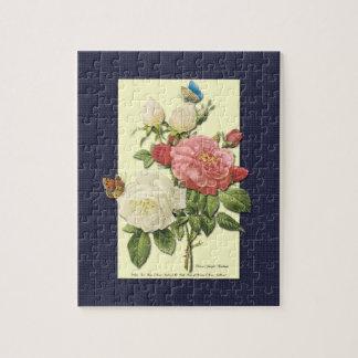 ピンクの白いヴィンテージの植物のバラ ジグソーパズル