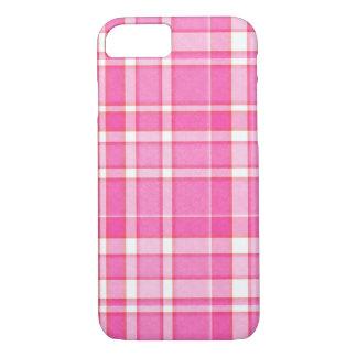 ピンクの白い格子縞のタータンチェック iPhone 8/7ケース