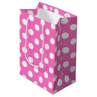 ピンクの白い水玉模様 ミディアムペーパーバッグ