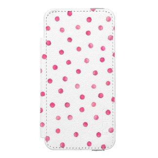 ピンクの白い紙吹雪のドット・パターン INCIPIO WATSON™ iPhone 5 ウォレット ケース