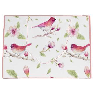 ピンクの白い緑のパステルの自然の鳥のマグノリア ラージペーパーバッグ