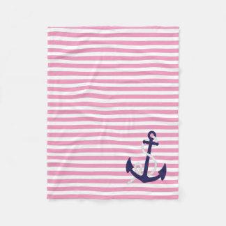 ピンクの白い航海の濃紺のいかりによって縞で飾ります フリースブランケット