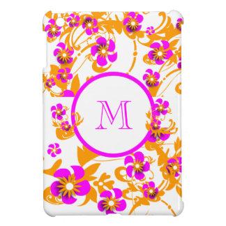 ピンクの白くガーリーなモノグラム iPad MINIカバー