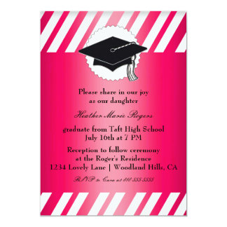 ピンクの白くストライプのな卒業Inivitation カード