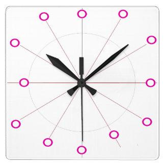 ピンクの白くモダンな時計レトロのモダンな60s スクエア壁時計