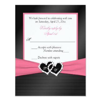 ピンクの白く黒いのどはRSVPを結婚するハートをプリーツをつけます カード