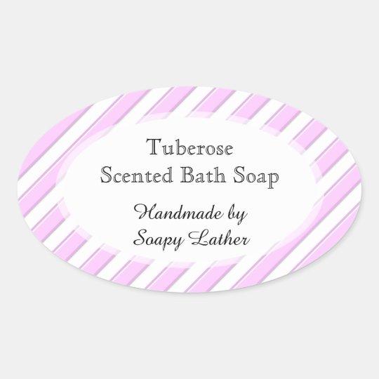 ピンクの白のストライプカスタムな石鹸またはレシピのステッカー 楕円形シール