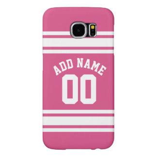 ピンクの白は名前および数を用いるジャージーを遊ばします SAMSUNG GALAXY S6 ケース